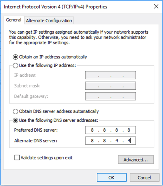 dns address could not be found chrome fix