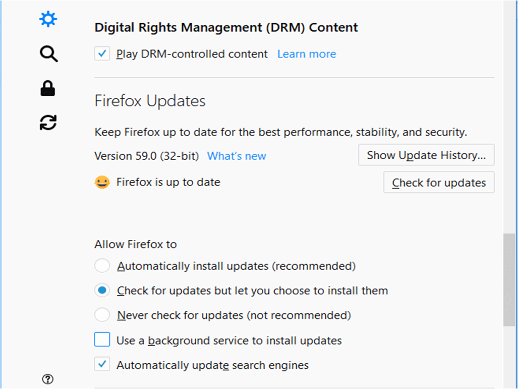 Mozilla Update Option