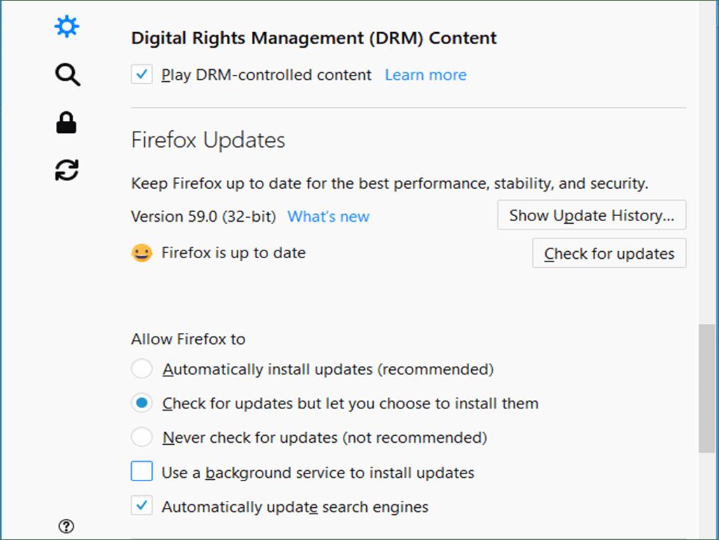 Mozilla Update Option