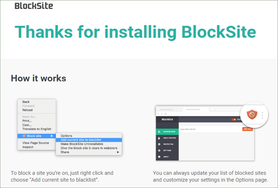 Blocksite Installed