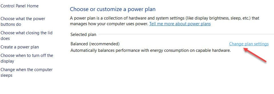 Change Power Settings