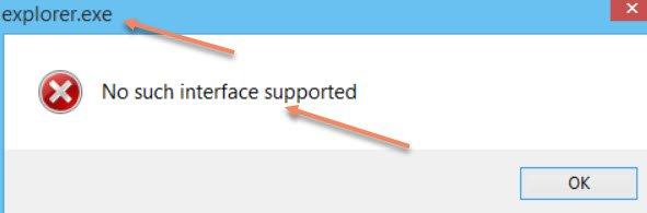 No such Interface Supported Error