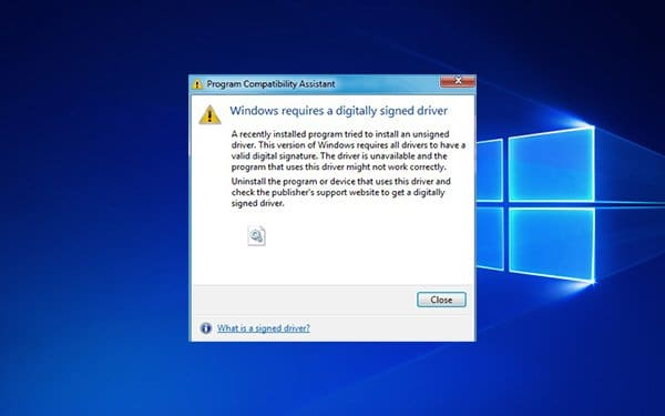 Windows Require A Digitally Signed Driver Error