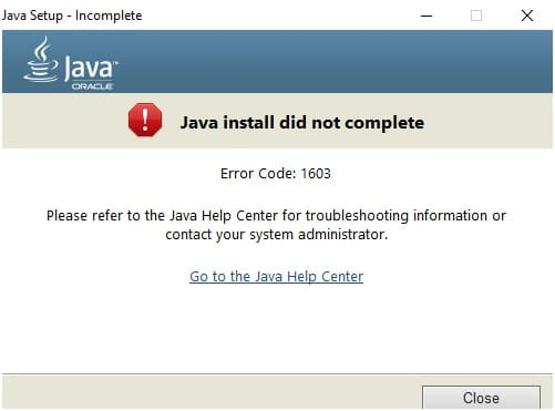 Java_Install_Did_Not_Complete