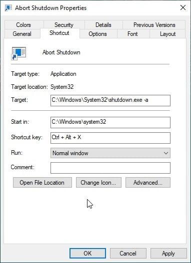Abort_shutdown_properties