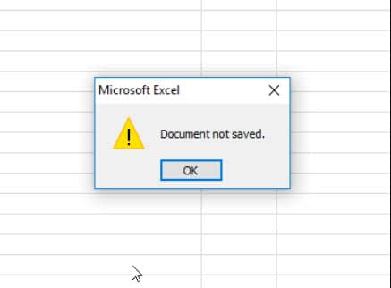 Microsoft Excel Document Not Saved Error - How To Fix?