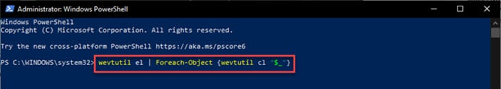powershell_clear_all_event_logs