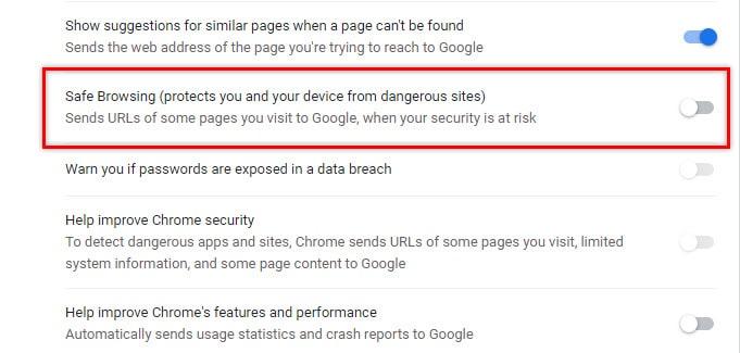 safe_browsing_disable