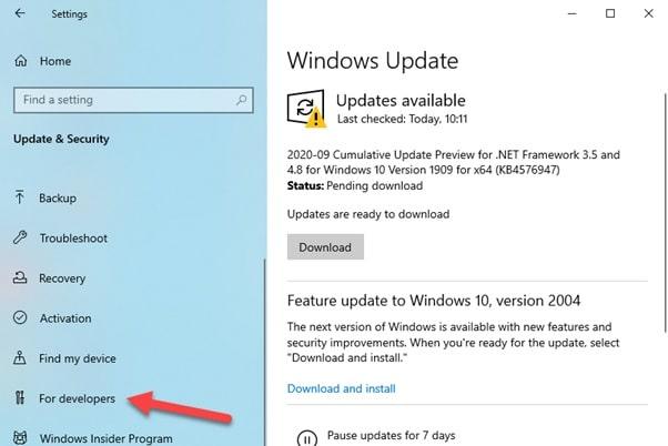 Windows_update_for_developer